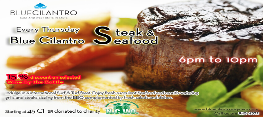 Steak & Seafood Special: $45. $5 donated to NCVO.